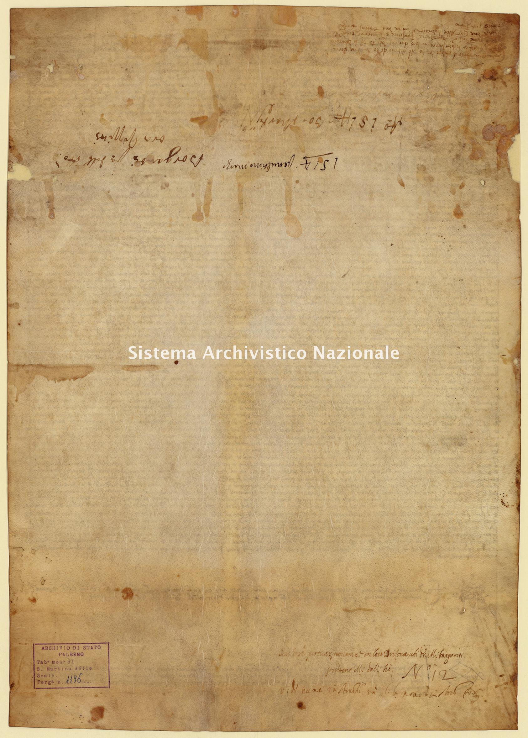 Archivio di Stato di Palermo, Diplomatico, Tabulario del monastero di San Martino delle Scale, Pergamena TSMS 1196