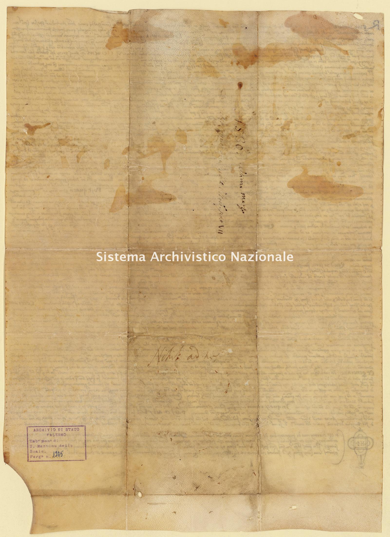 Archivio di Stato di Palermo, Diplomatico, Tabulario del monastero di San Martino delle Scale, Pergamena TSMS 1205