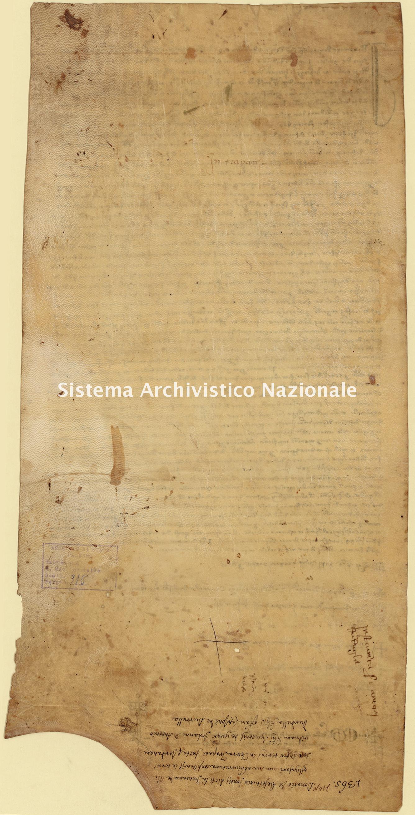 Archivio di Stato di Palermo, Diplomatico, Tabulario del monastero di San Martino delle Scale, Pergamena TSMS 0316