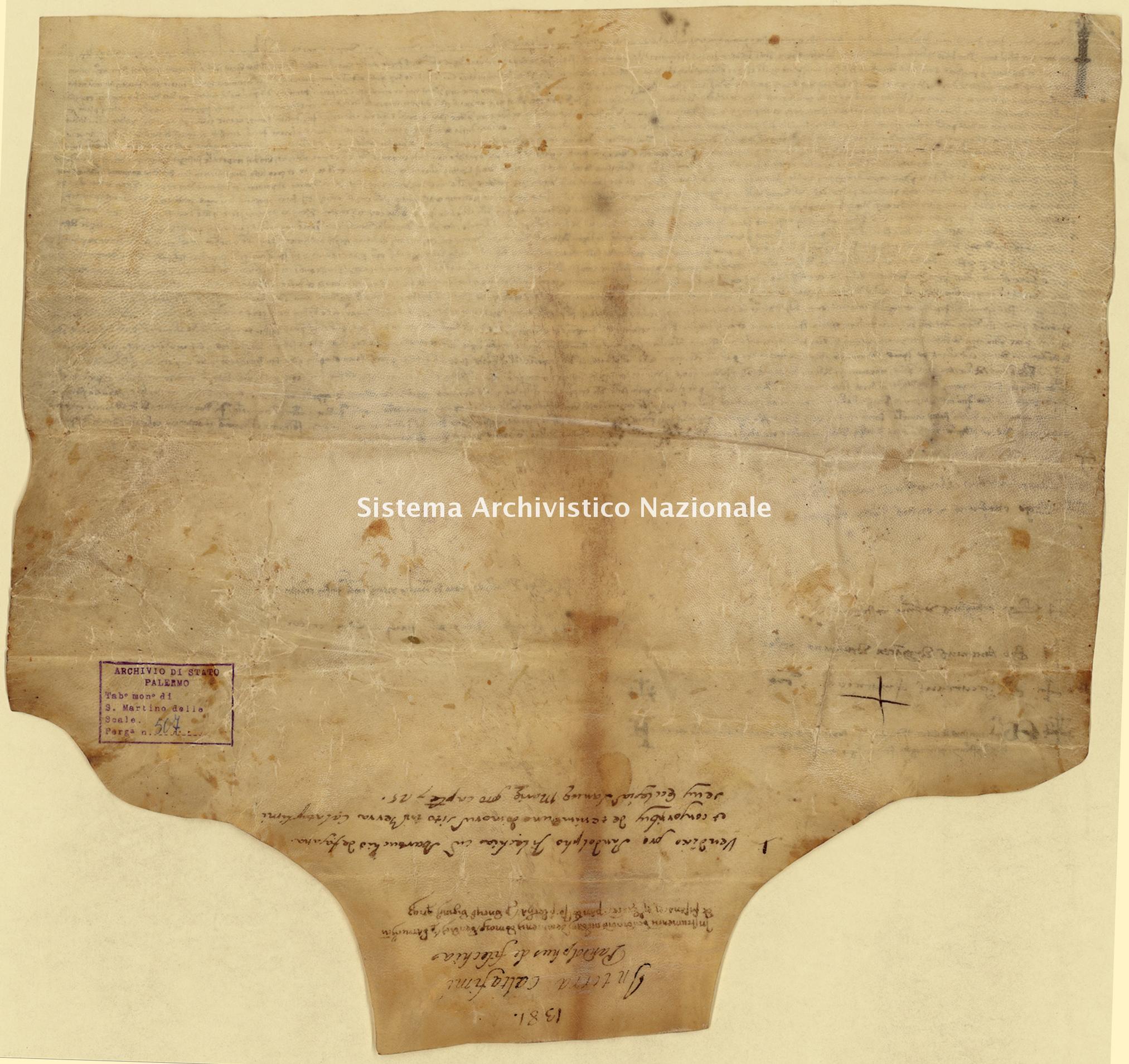 Archivio di Stato di Palermo, Diplomatico, Tabulario del monastero di San Martino delle Scale, Pergamena TSMS 0507