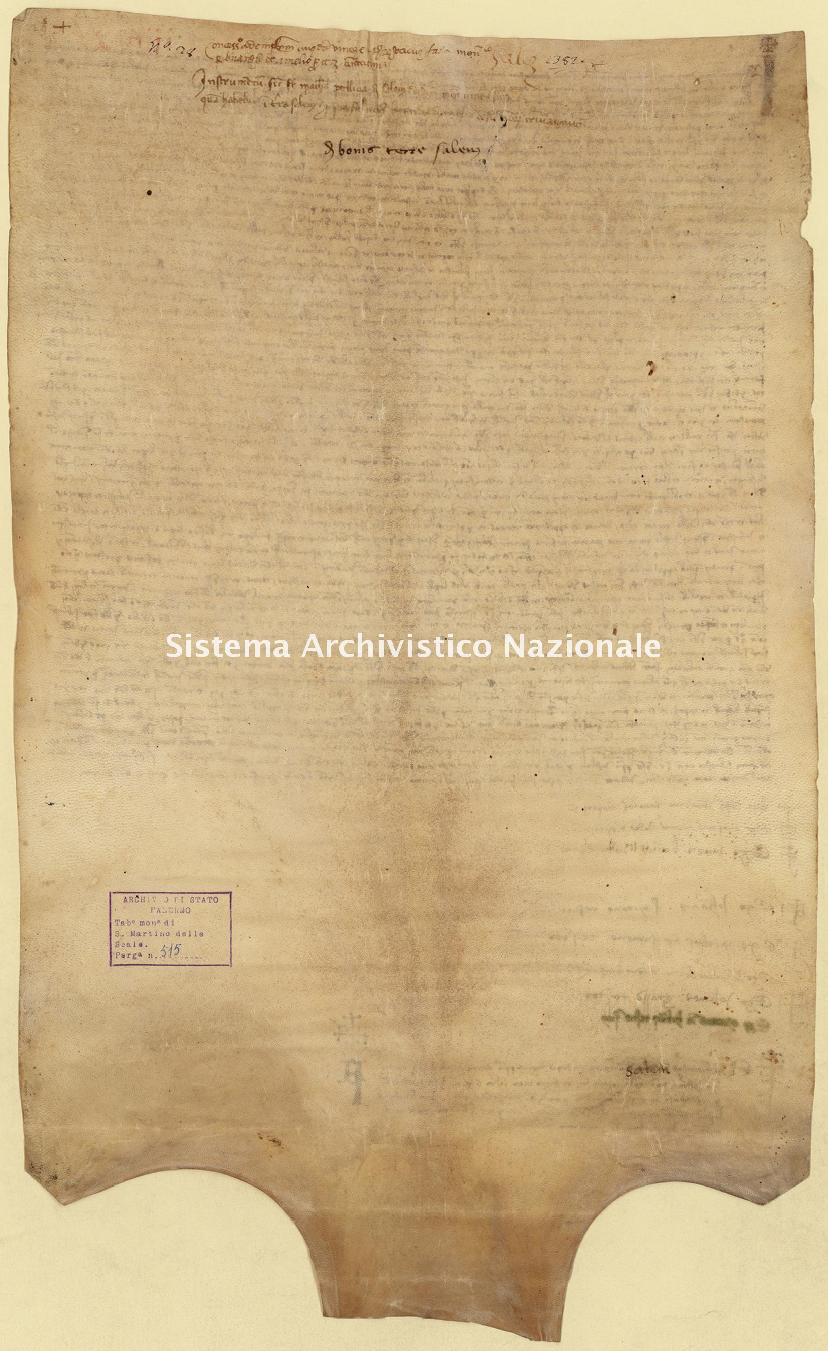 Archivio di Stato di Palermo, Diplomatico, Tabulario del monastero di San Martino delle Scale, Pergamena TSMS 0515