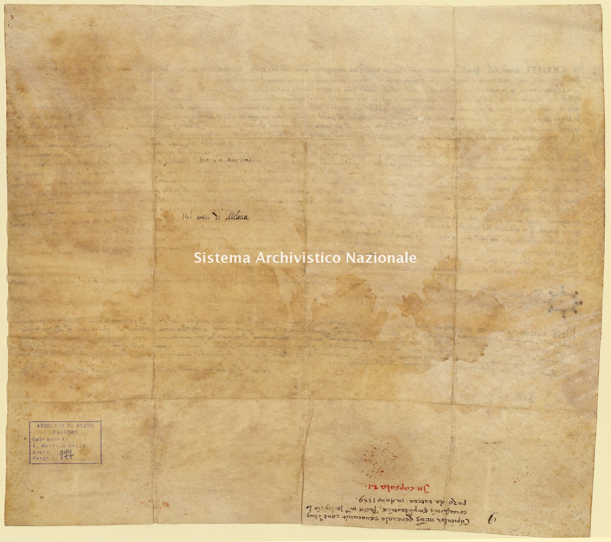 Archivio di Stato di Palermo, Diplomatico, Tabulario del monastero di San Martino delle Scale, Pergamena TSMS 0977