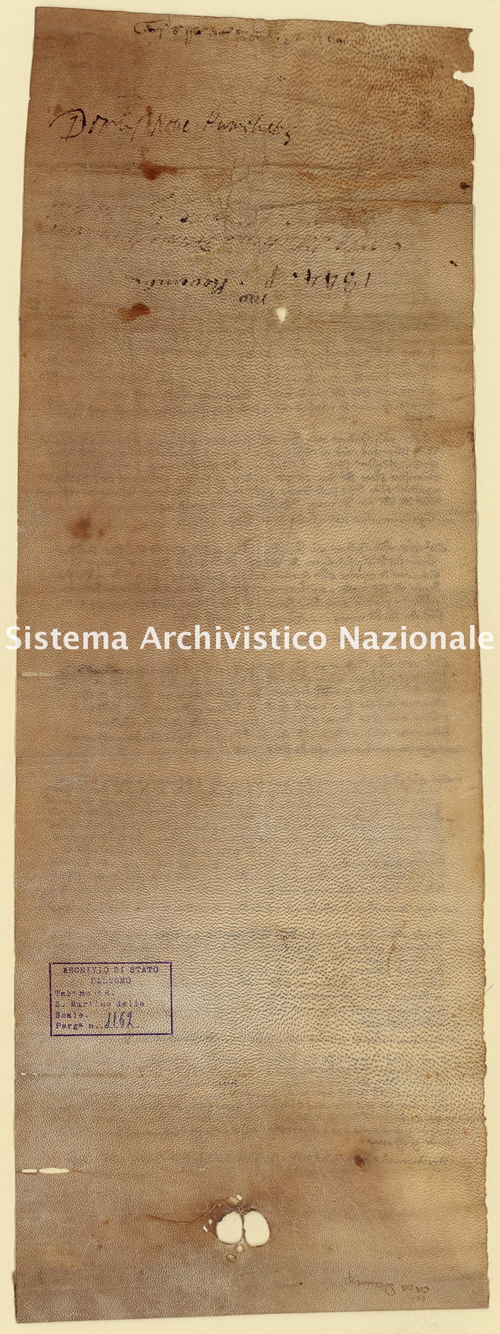 Archivio di Stato di Palermo, Diplomatico, Tabulario del monastero di San Martino delle Scale, Pergamena TSMS 1162