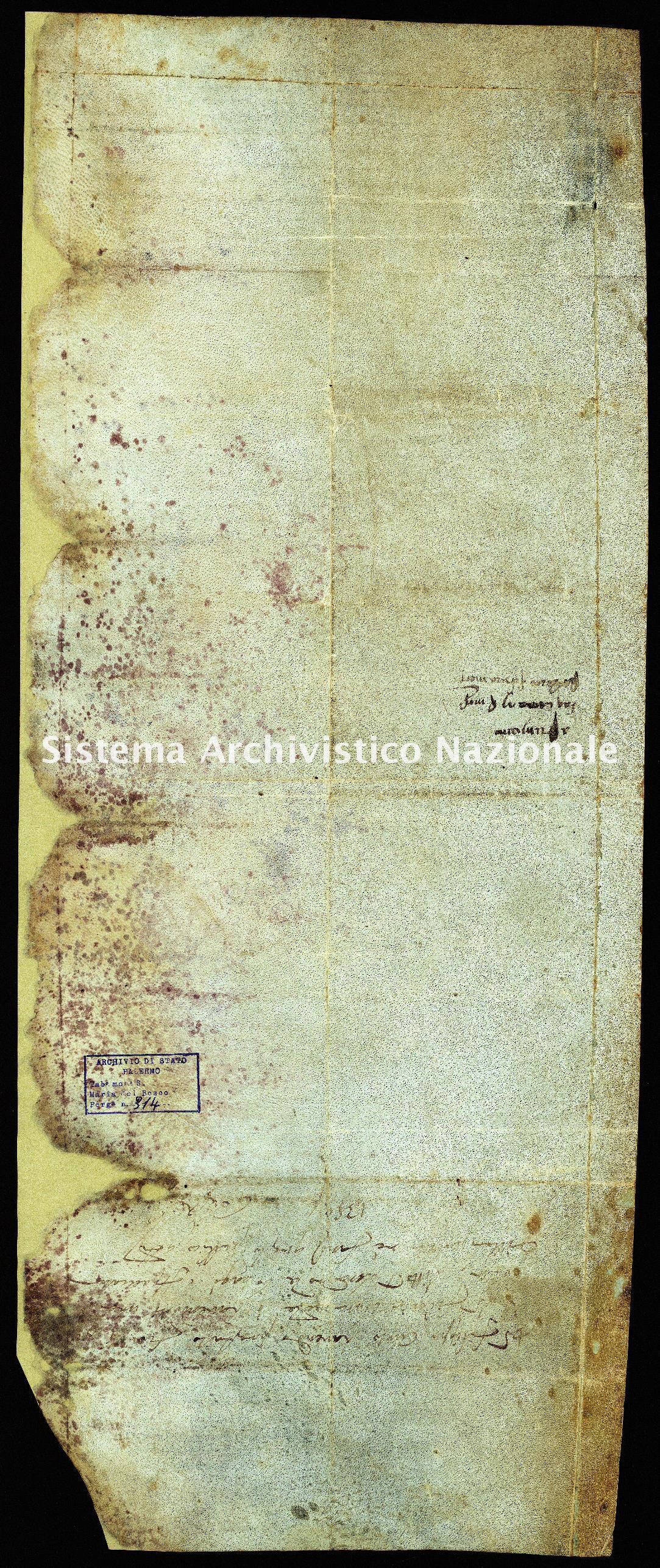 Archivio di Stato di Palermo, Diplomatico, Tabulario del monastero di Santa Maria del Bosco di Calatamauro, Pergamena TSMB 314