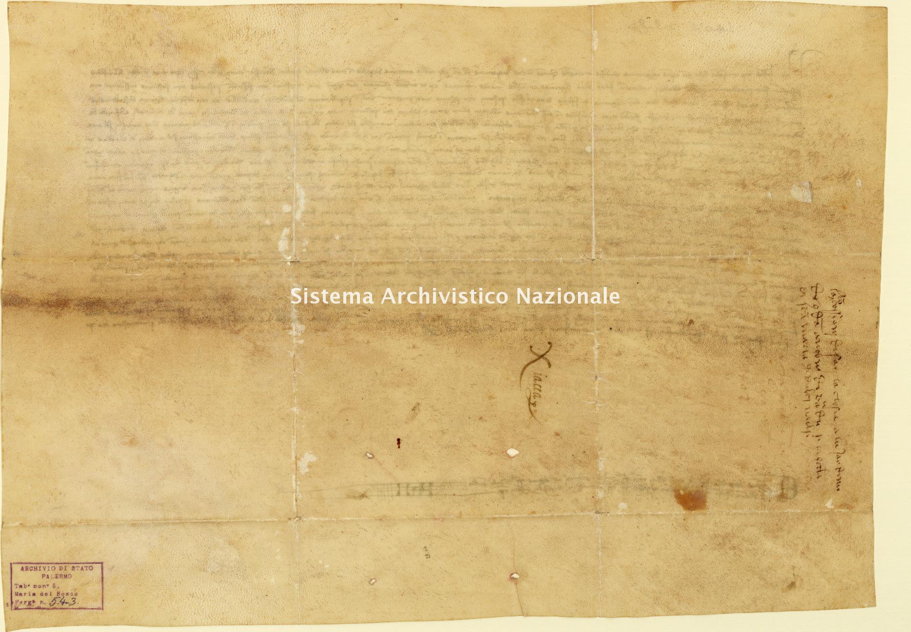 Archivio di Stato di Palermo, Diplomatico, Tabulario del monastero di Santa Maria del Bosco di Calatamauro, Pergamena TSMB 543