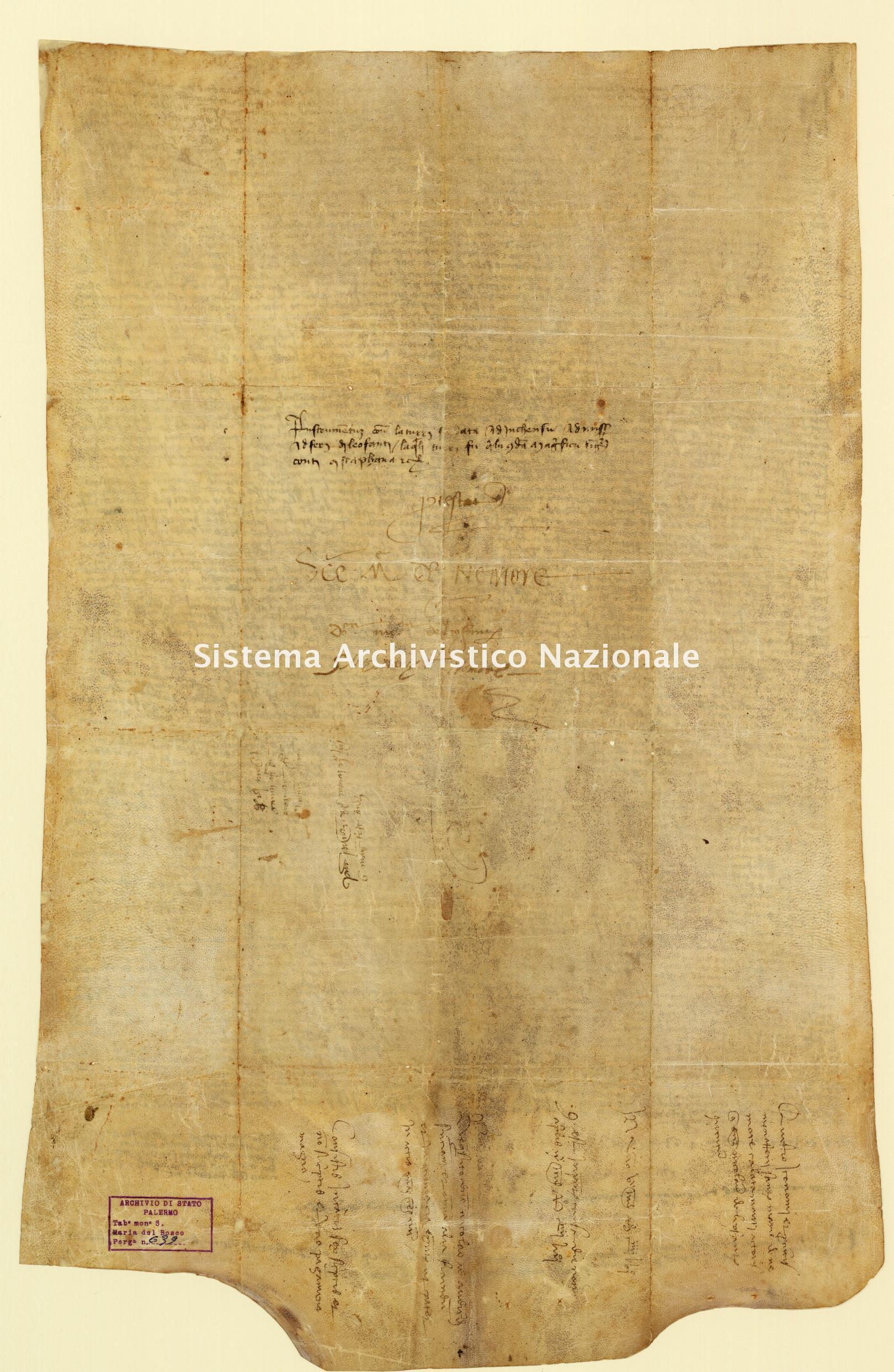 Archivio di Stato di Palermo, Diplomatico, Tabulario del monastero di Santa Maria del Bosco di Calatamauro, Pergamena TSMB 639