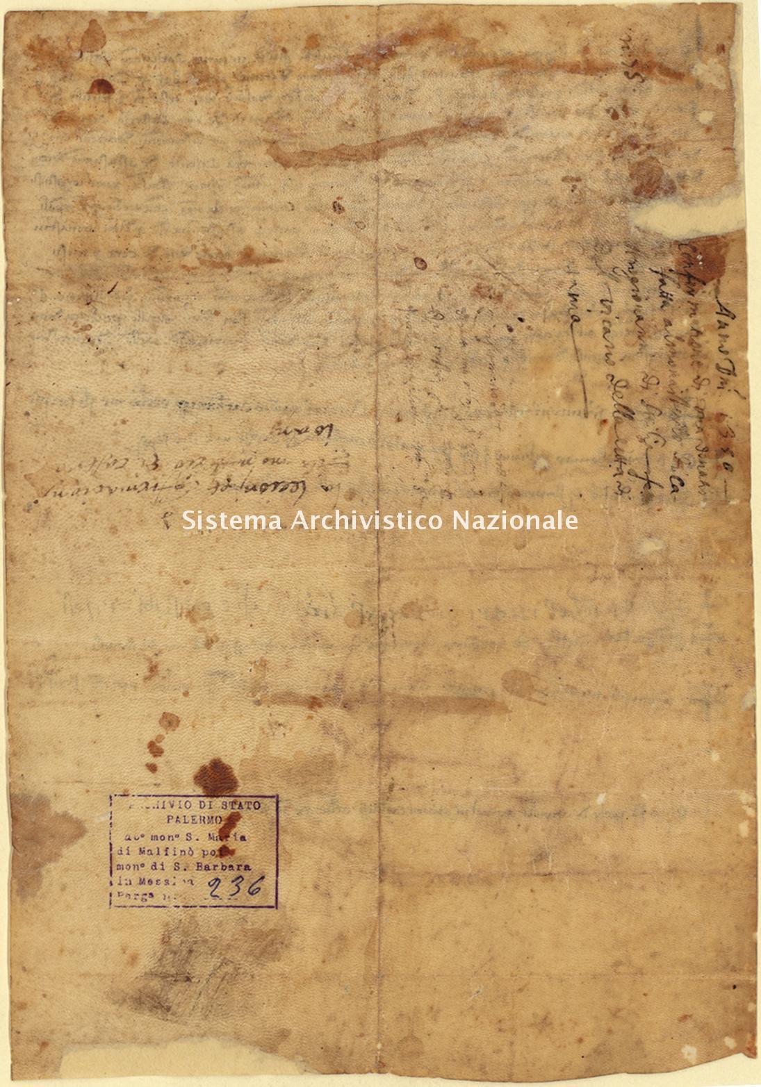 Archivio di Stato di Palermo, Diplomatico, Tabulario del monastero di Santa Maria di Malfinò poi Santa Barbara, Pergamena TSMM 236