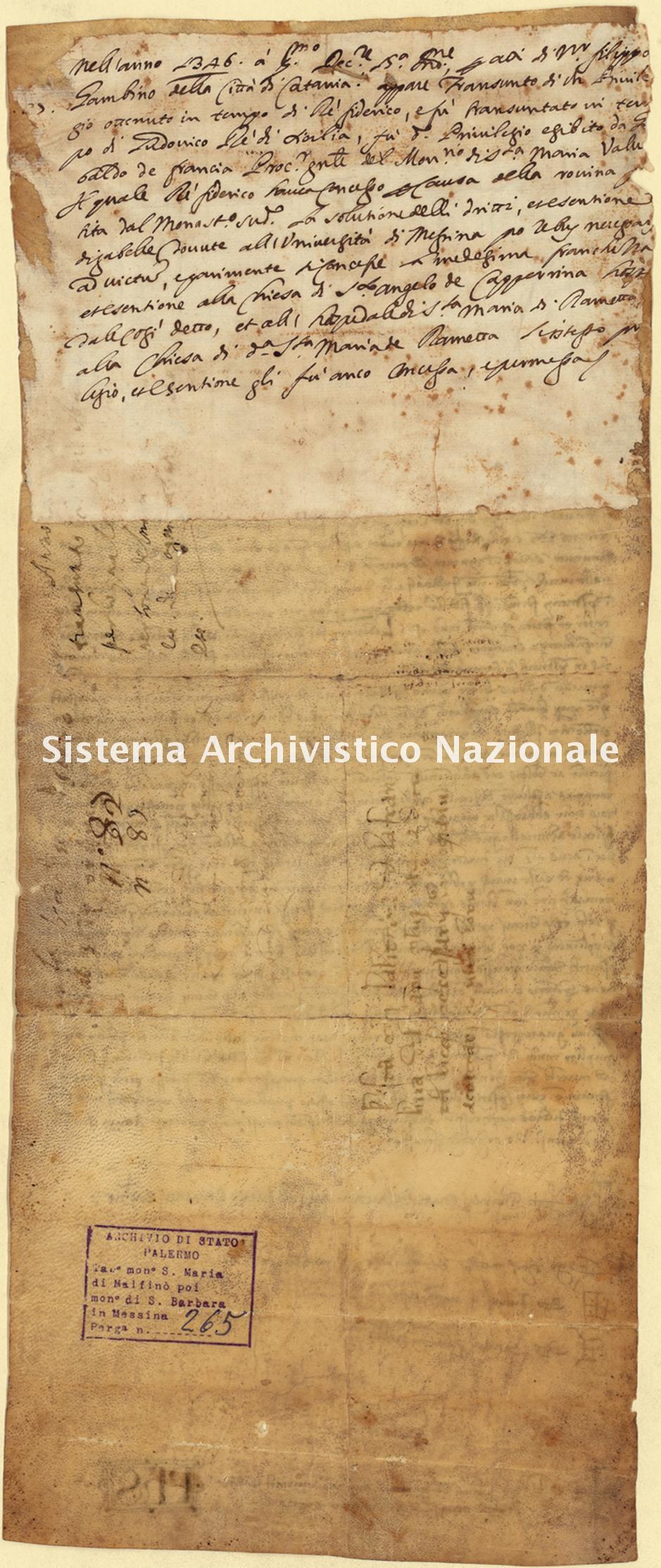 Archivio di Stato di Palermo, Diplomatico, Tabulario del monastero di Santa Maria di Malfinò poi Santa Barbara, Pergamena TSMM 265