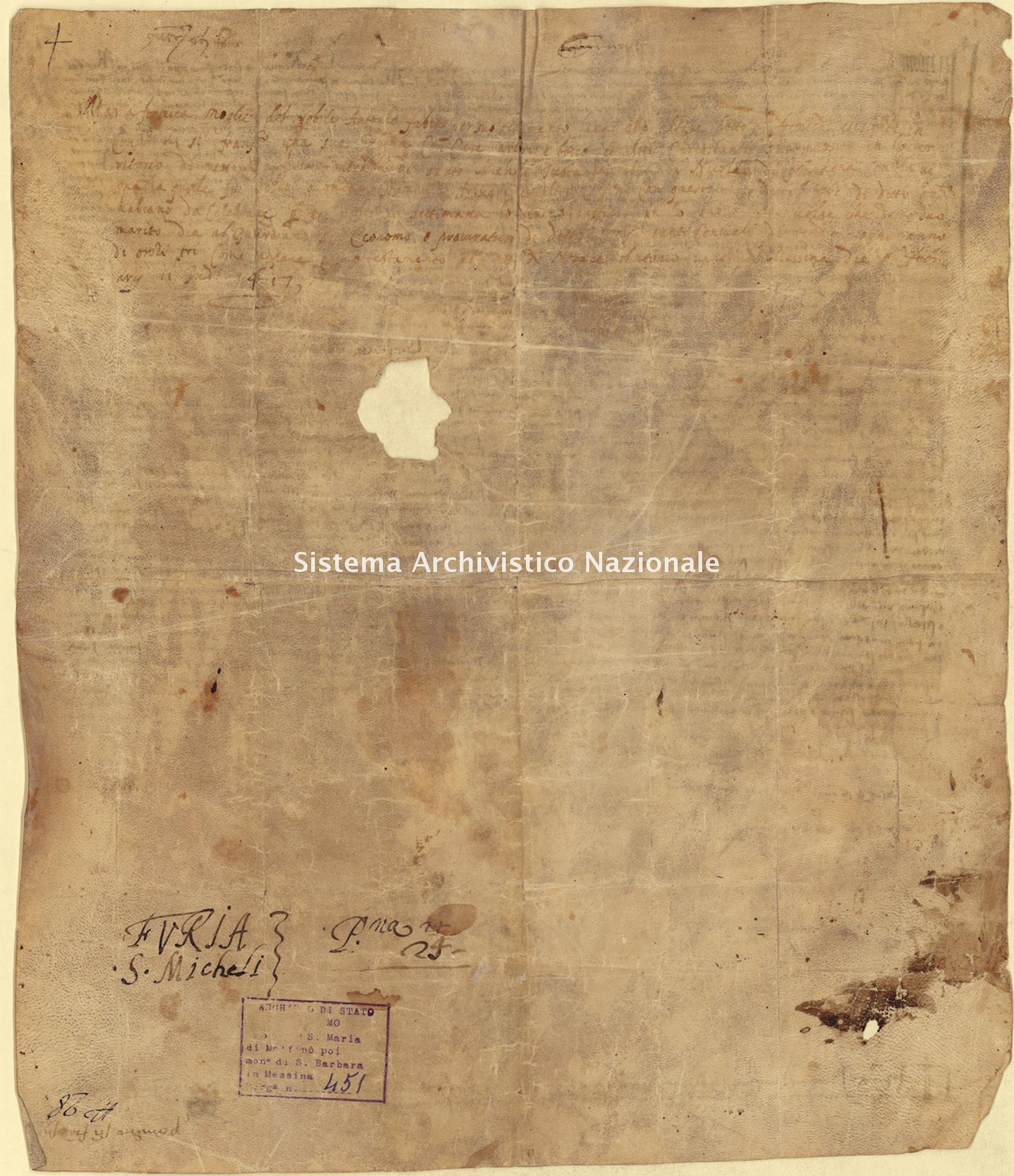 Archivio di Stato di Palermo, Diplomatico, Tabulario del monastero di Santa Maria di Malfinò poi Santa Barbara, Pergamena TSMM 451