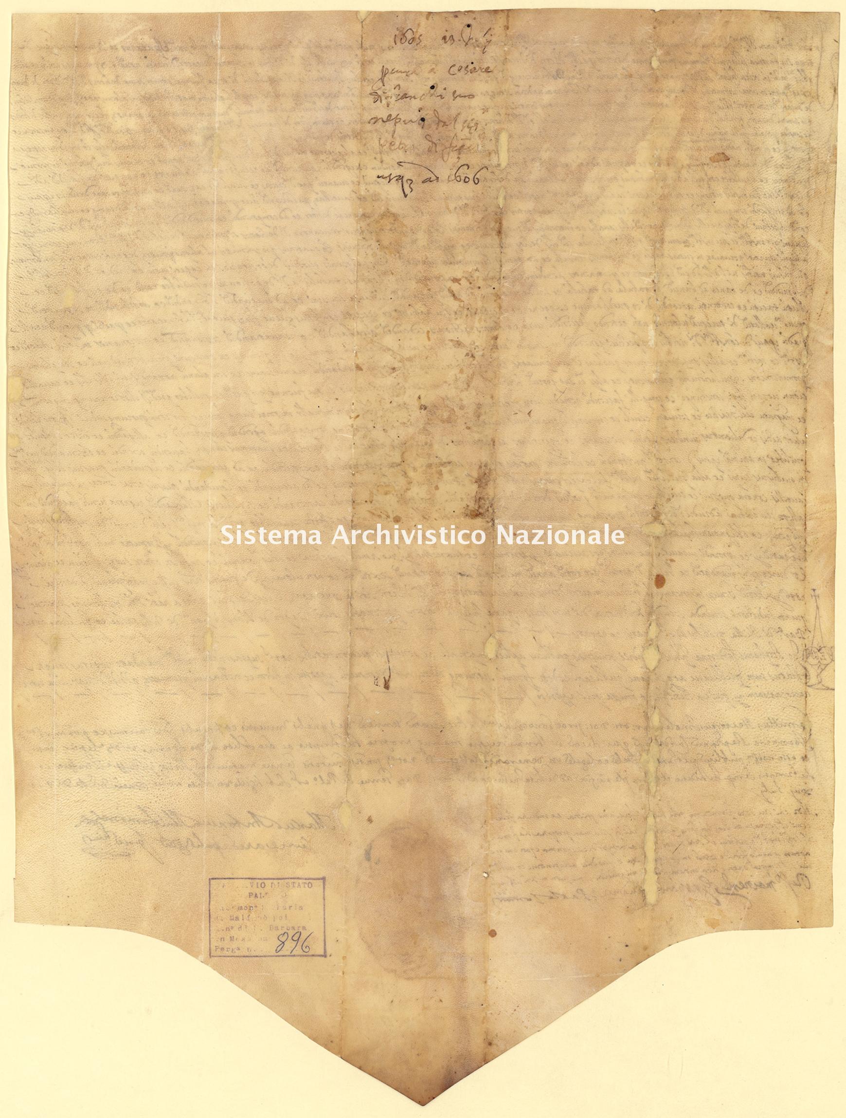 Archivio di Stato di Palermo, Diplomatico, Tabulario del monastero di Santa Maria di Malfinò poi Santa Barbara, Pergamena TSMM 896