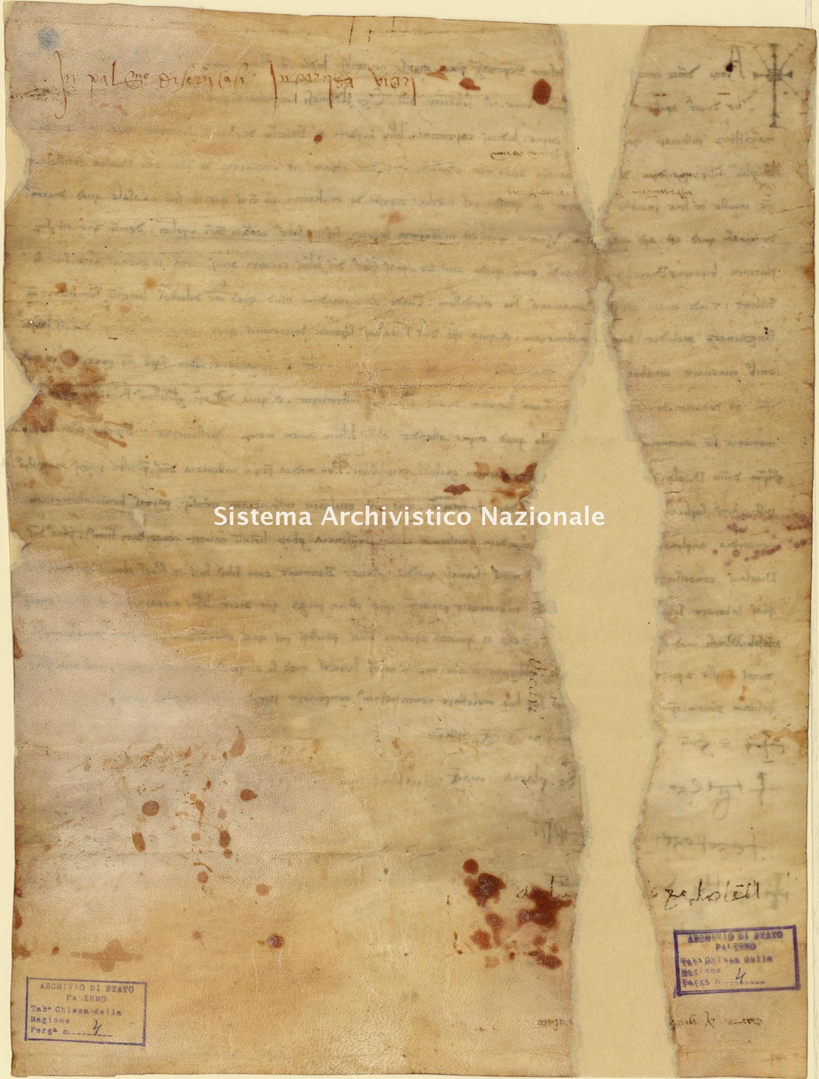Archivio di Stato di Palermo, Diplomatico, Tabulario della Commenda della Magione, Pergamena TCM 004