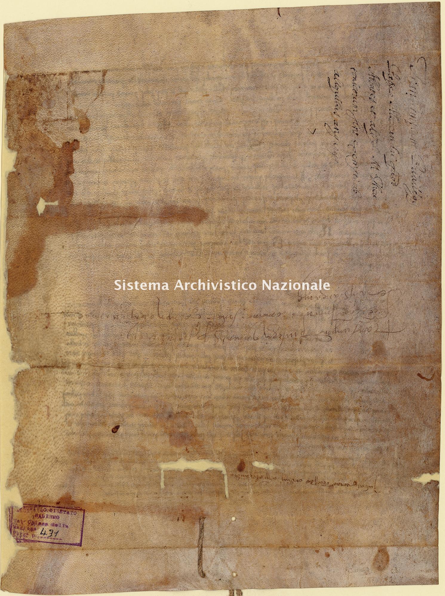 Archivio di Stato di Palermo, Diplomatico, Tabulario della Commenda della Magione, Pergamena TCM 431
