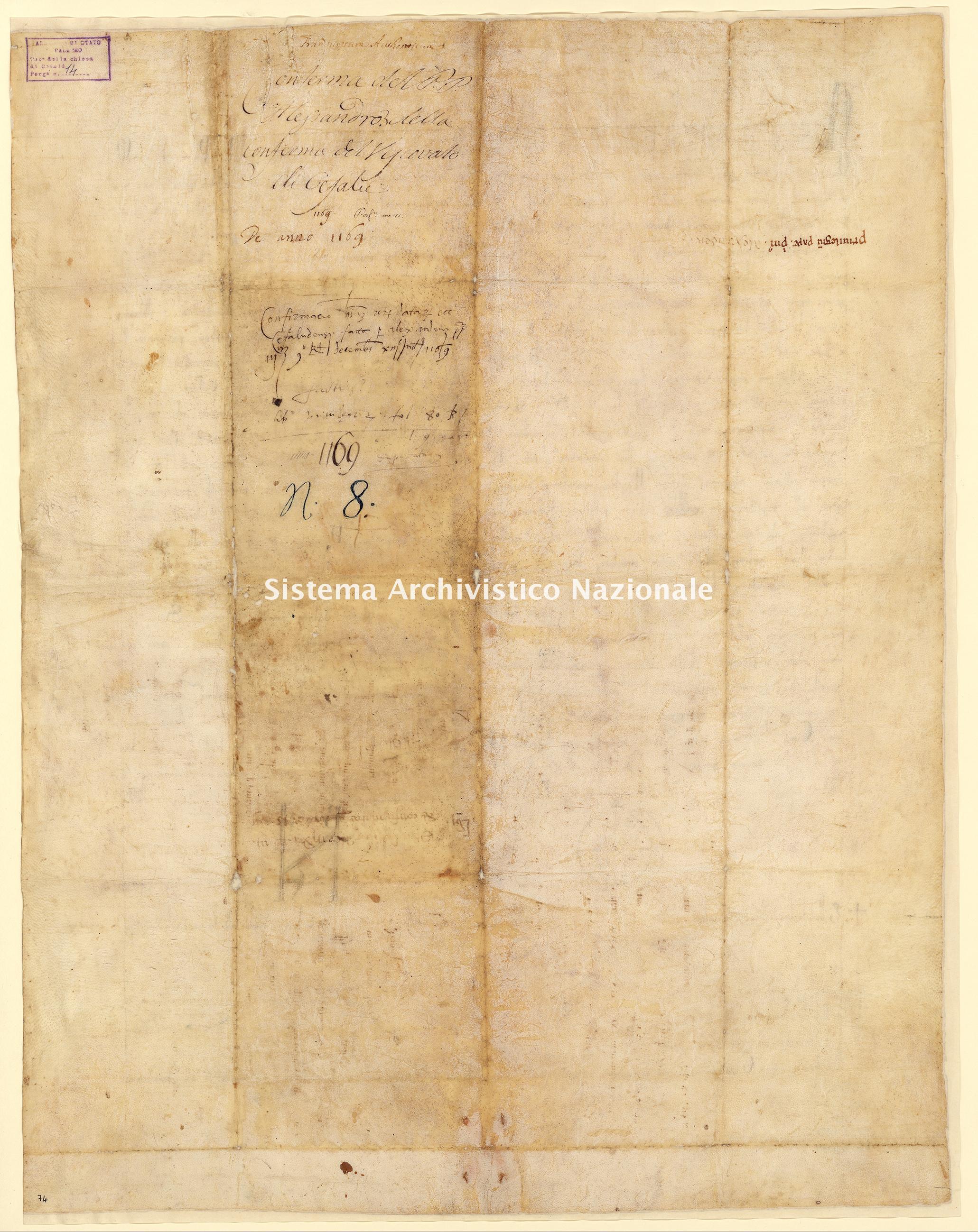 Archivio di Stato di Palermo, Diplomatico, Tabulario della Mensa vescovile di Cefalù, Pergamena TMC 014