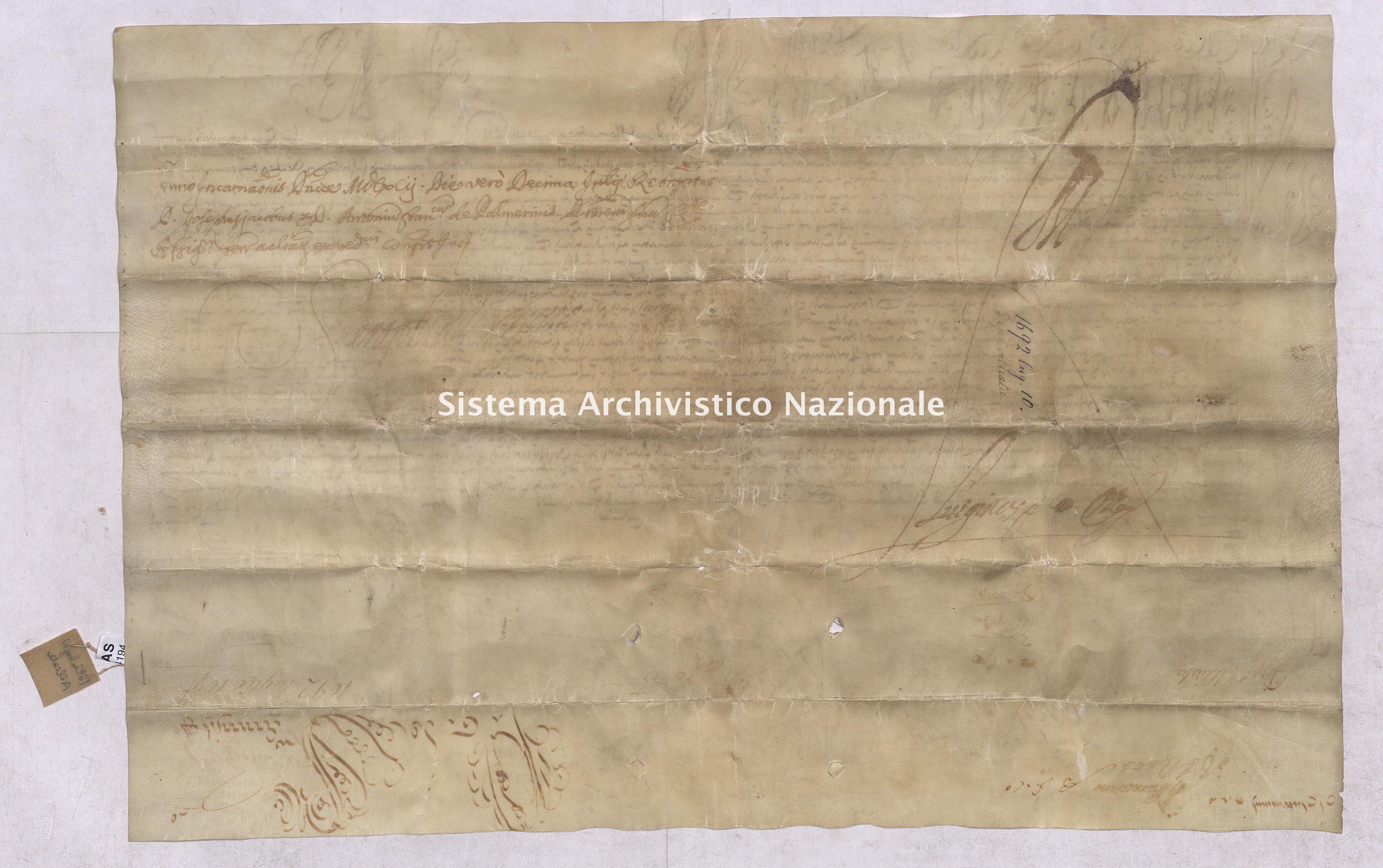 Archivio di Stato di Pisa, Diplomatico, Alliata, Pergamena ALL04194