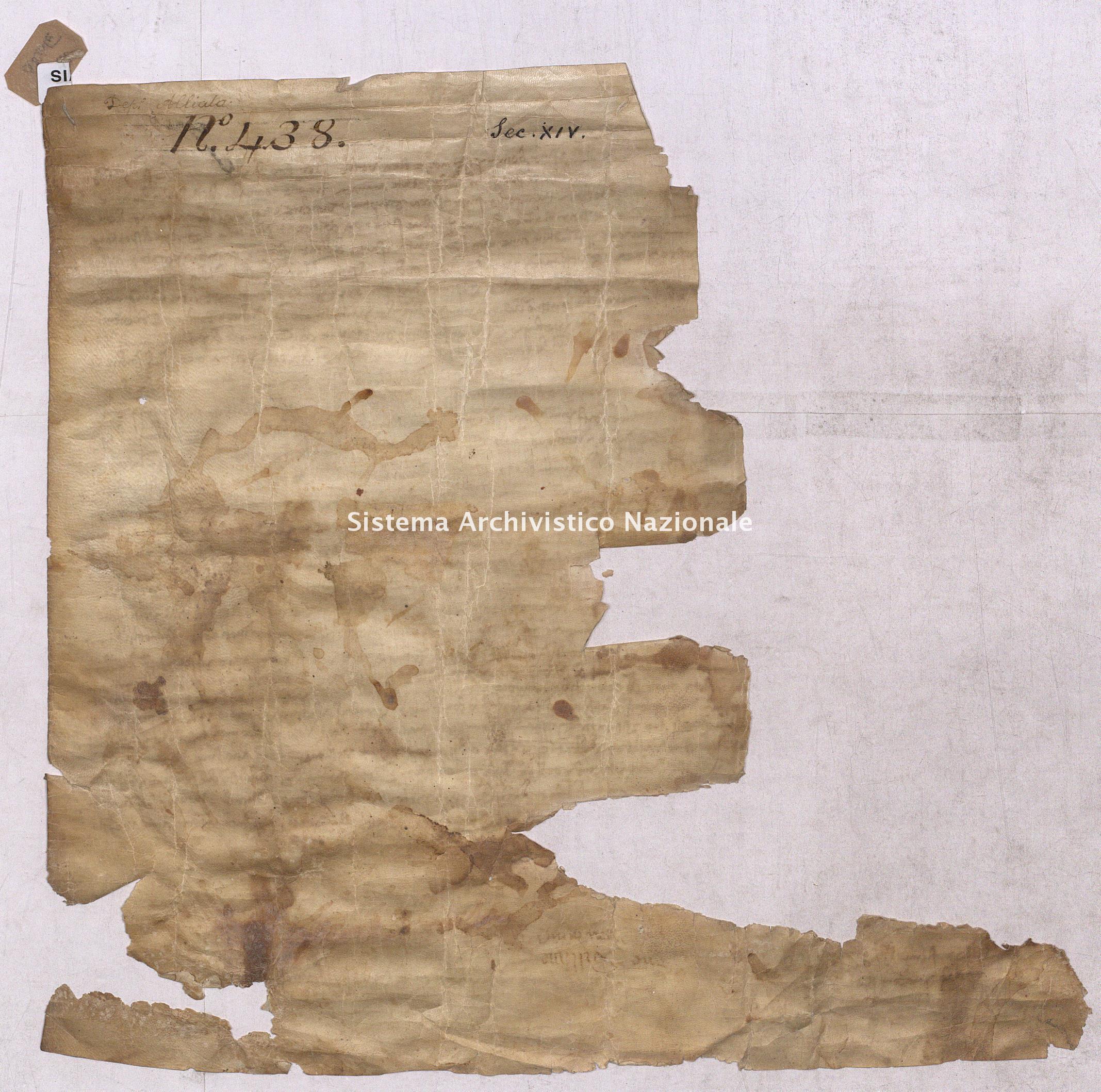 Archivio di Stato di Pisa, Diplomatico, Alliata, Pergamena ALL04017