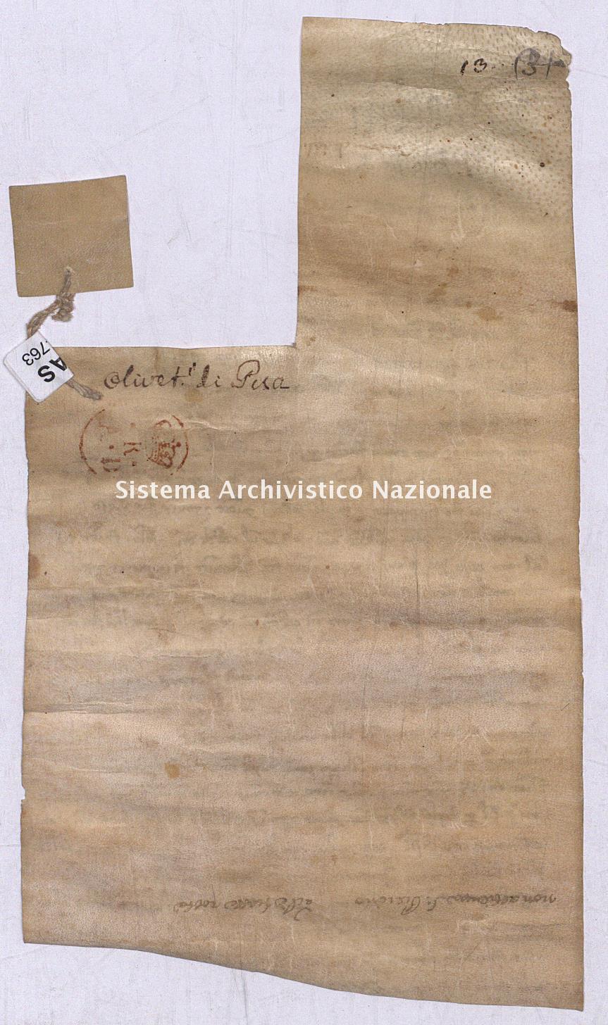 Archivio di Stato di Pisa, Diplomatico, Olivetani, Pergamena OLI04763