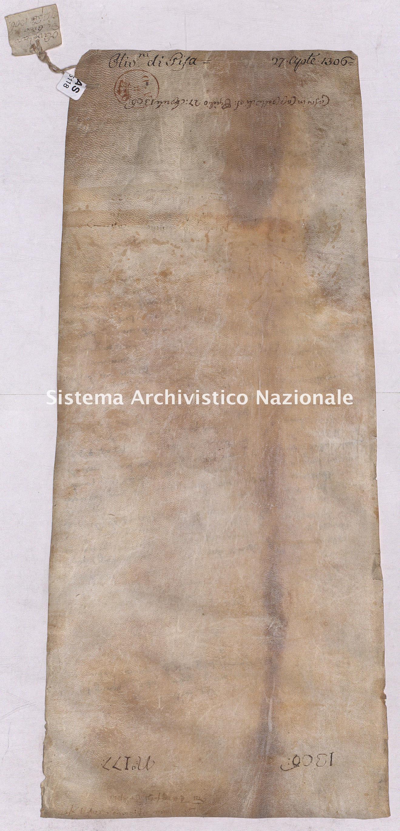 Archivio di Stato di Pisa, Diplomatico, Olivetani, Pergamena OLI05118