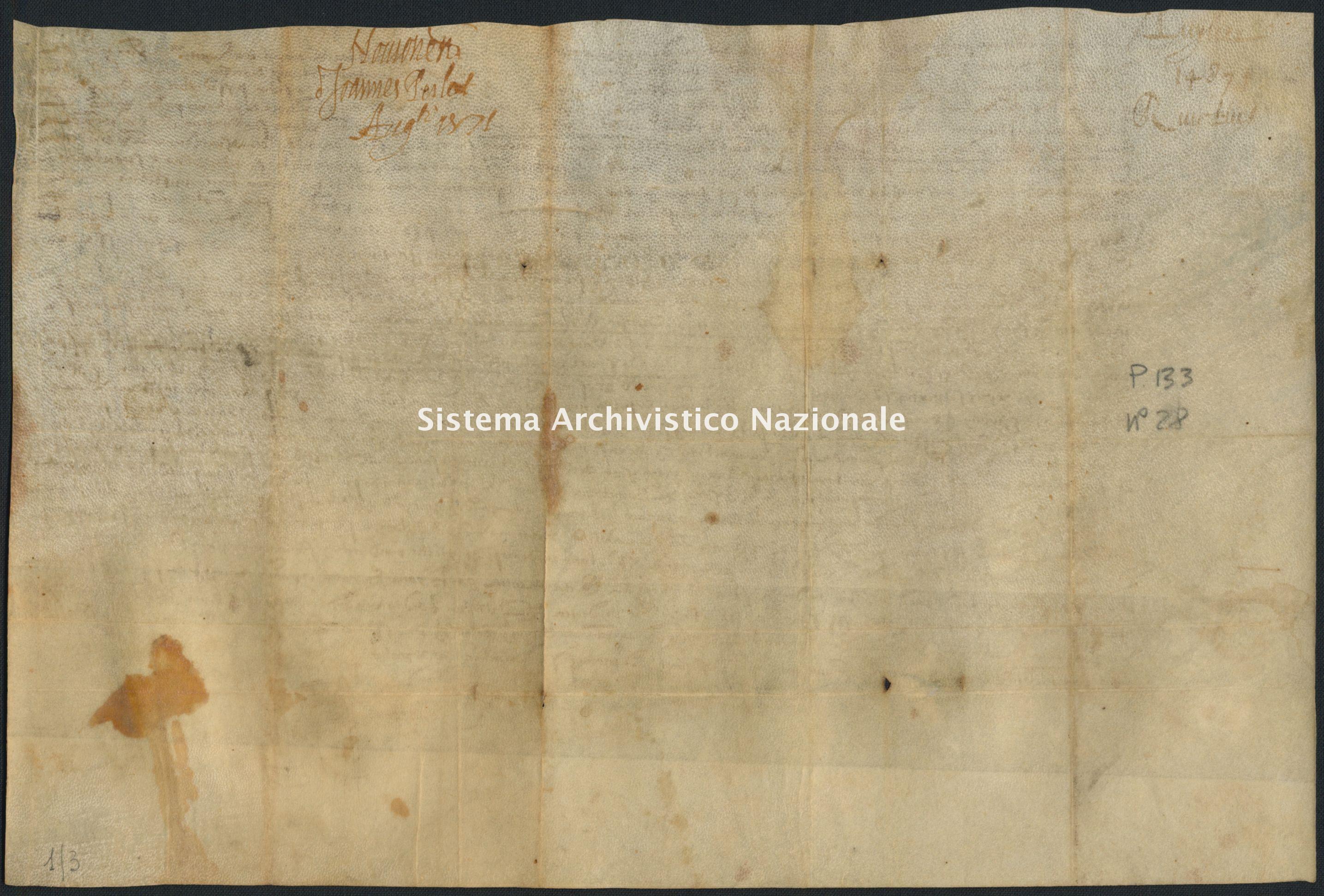 Archivio di Stato di RIETI, Pergamene provenienti dal restauro, Pergamena 01/0003