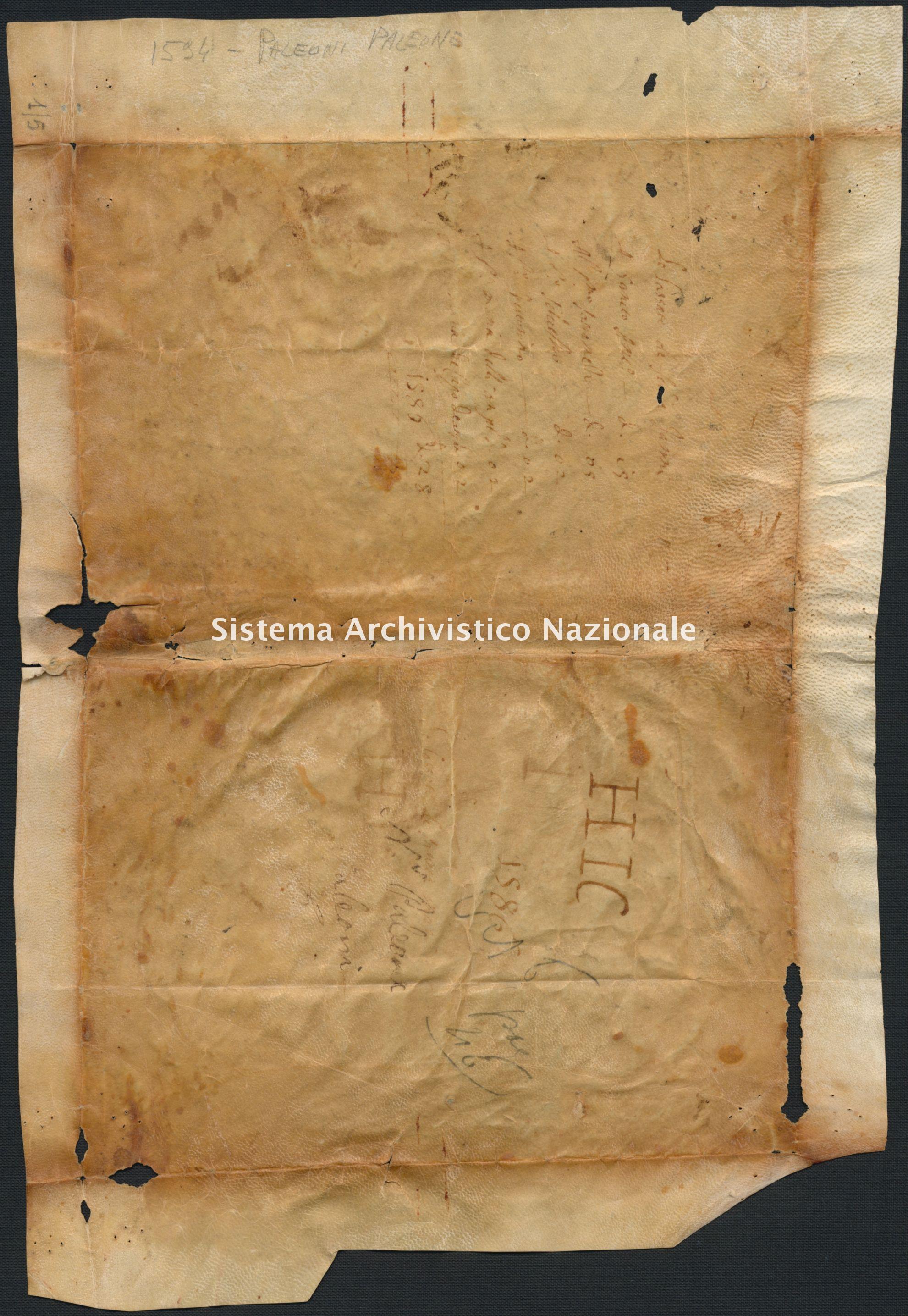 Archivio di Stato di RIETI, Pergamene provenienti dal restauro, Pergamena 01/0005