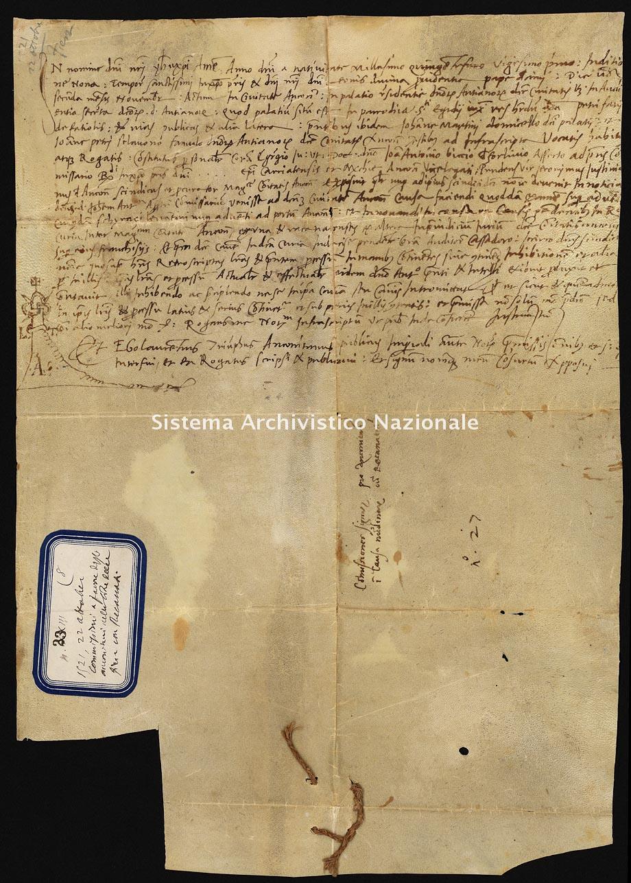 Archivio di Stato di Ancona, Comune di Ancona, Comune di Ancona (antico regime), Pergamene, Pergamena n. 23