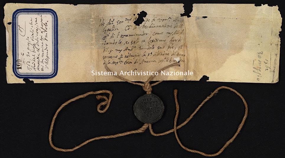 Archivio di Stato di Ancona, Comune di Ancona, Comune di Ancona (antico regime), Pergamene, Pergamena n. 100