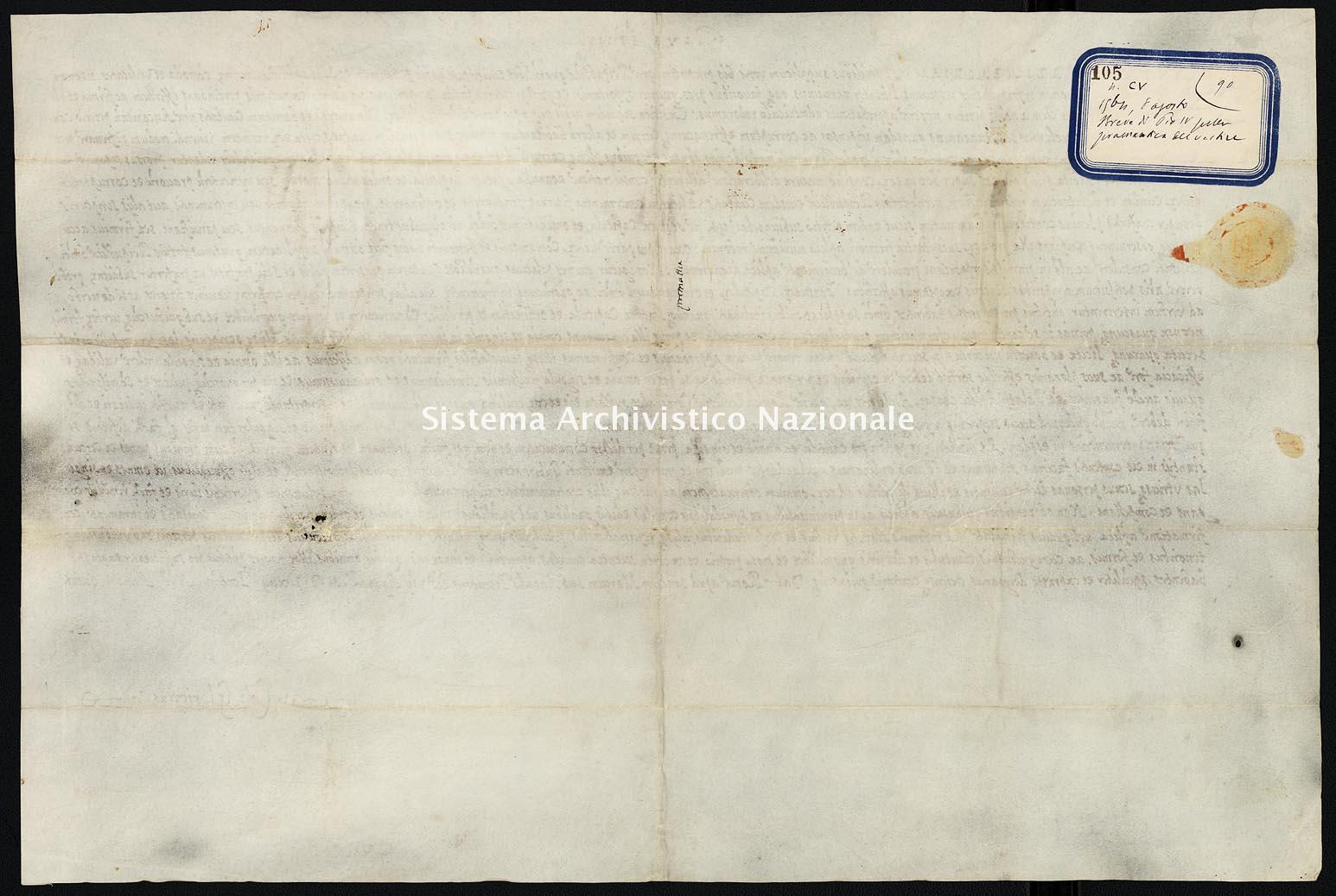 Archivio di Stato di Ancona, Comune di Ancona, Comune di Ancona (antico regime), Pergamene, Pergamena n. 105