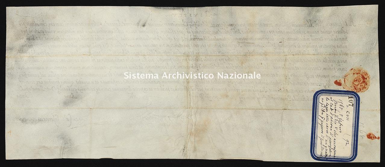 Archivio di Stato di Ancona, Comune di Ancona, Comune di Ancona (antico regime), Pergamene, Pergamena n. 107