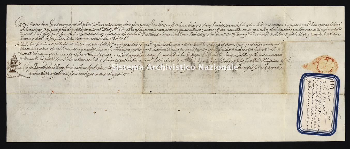 Archivio di Stato di Ancona, Comune di Ancona, Comune di Ancona (antico regime), Pergamene, Pergamena n. 116