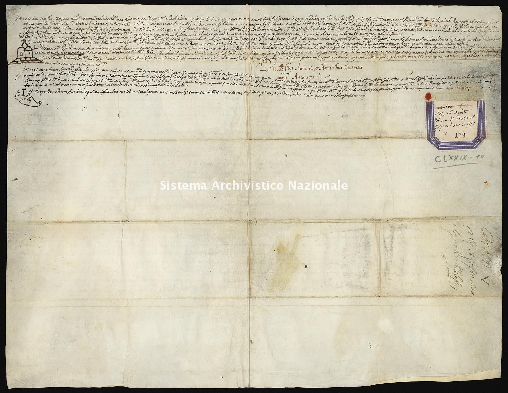 Archivio di Stato di Ancona, Comune di Ancona, Comune di Ancona (antico regime), Pergamene, Pergamena n. 179