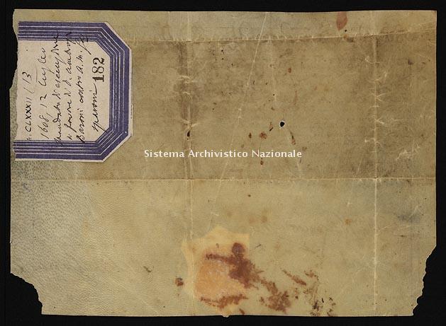 Archivio di Stato di Ancona, Comune di Ancona, Comune di Ancona (antico regime), Pergamene, Pergamena n. 182