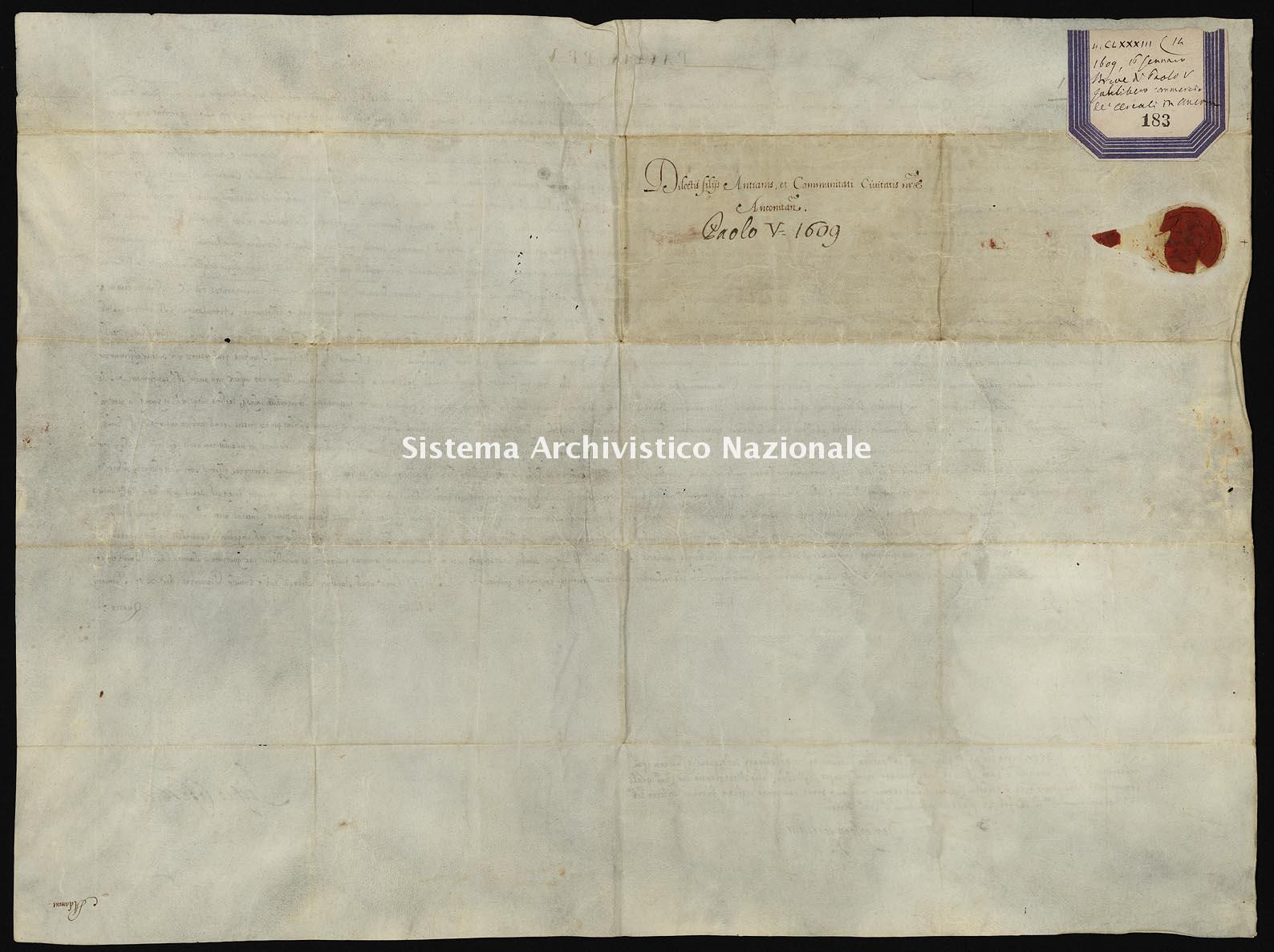 Archivio di Stato di Ancona, Comune di Ancona, Comune di Ancona (antico regime), Pergamene, Pergamena n. 183