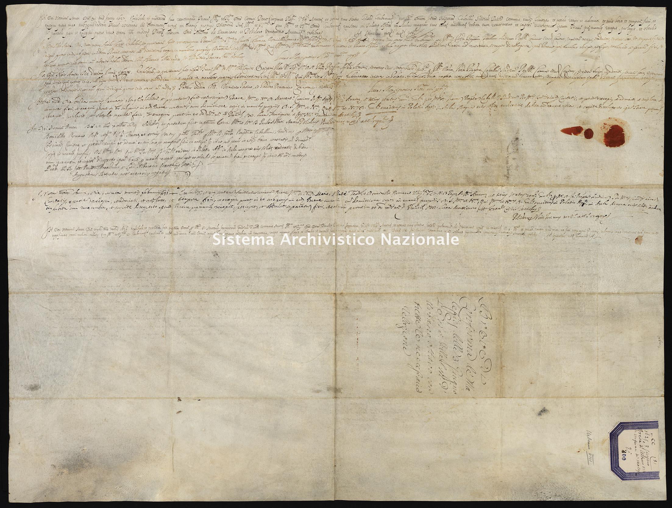 Archivio di Stato di Ancona, Comune di Ancona, Comune di Ancona (antico regime), Pergamene, Pergamena n. 200