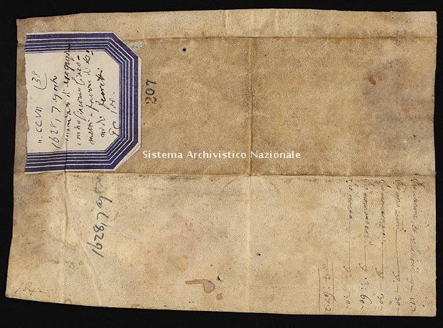 Archivio di Stato di Ancona, Comune di Ancona, Comune di Ancona (antico regime), Pergamene, Pergamena n. 207