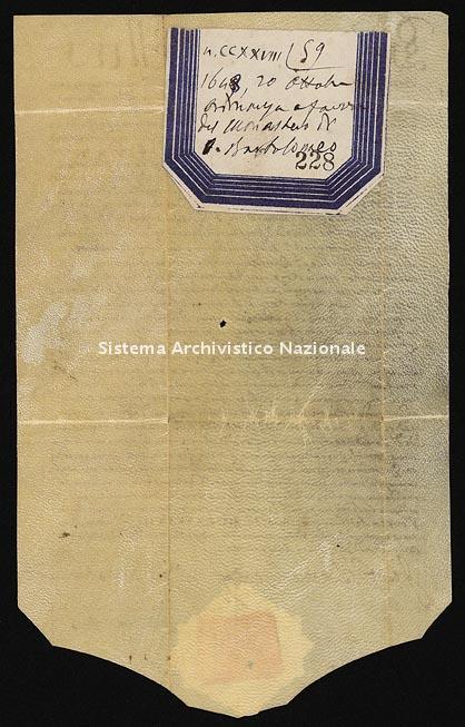 Archivio di Stato di Ancona, Comune di Ancona, Comune di Ancona (antico regime), Pergamene, Pergamena n. 228