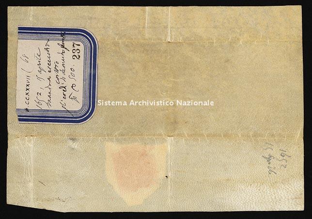 Archivio di Stato di Ancona, Comune di Ancona, Comune di Ancona (antico regime), Pergamene, Pergamena n. 237