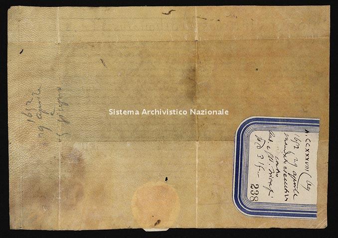Archivio di Stato di Ancona, Comune di Ancona, Comune di Ancona (antico regime), Pergamene, Pergamena n. 238