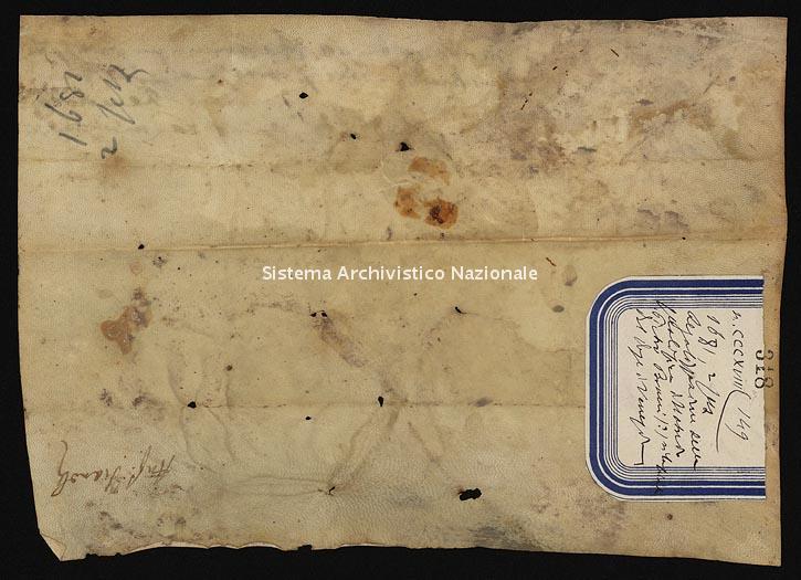 Archivio di Stato di Ancona, Comune di Ancona, Comune di Ancona (antico regime), Pergamene, Pergamena n. 318