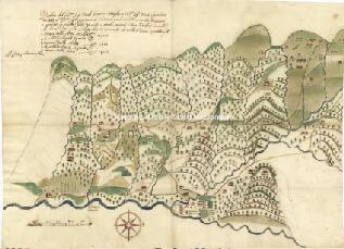 Archivio di Stato di Genova, Pianta delle tre ville d'Acero, Trigoso e Porcile con distanze , strade, boschi e corsi d'acqua., Segnatura: 125
