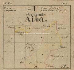 Archivio di Stato di Trieste, Mappa catastale del Comune di Aiba foglio III, sezioni III e ad V, Segnatura: 4 b 03